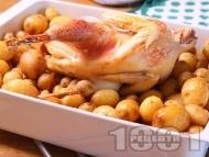 Печена домашна кокошка с пресни картофи на фурна